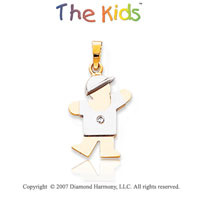 14k Two Tone Gold Charming Boy Small Diamond Pendant